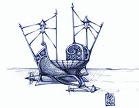 Pencil Fantasy Boat Drawings