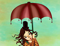 """Illustração """"seguindo o vento"""""""
