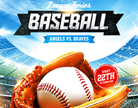 Baseball League Series Flyer, PSD Template