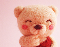 """ Pink Bear "" needle felted toy"