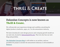 Thrill & Create rebrand: Redesign of old company site