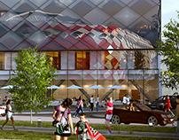 urban complex, hotels and stadium