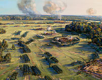 Morning of the Battle of Poltava. Redoubts.