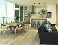 Interior design - Living room with kitchen area