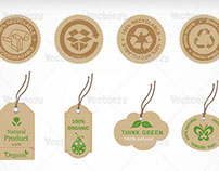Recycle and Organic Label Vector Pack