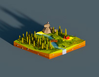 Square Island - Low Poly