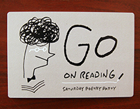 invitation card: GO ON READING