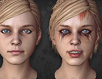 Girl head. Game character