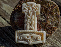 Thor's Hammer Bone Carving
