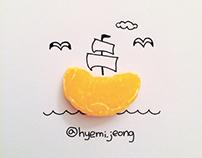 With orange