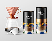 ESCO Coffee abstract funky packaging design
