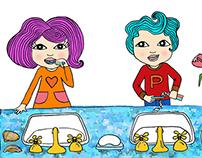 Children Illustration/ INK Drawing + Photoshop coloured