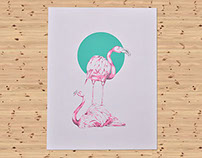 Flamingo Silk screen 50x65