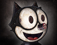 Famous cartoon characters in Metalworks style