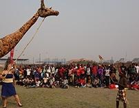 Giant Giraffe Lantern Puppet, Lusaka, Zambia