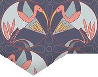 Motif de grues d'inspiration Art Deco