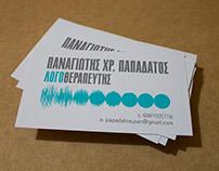 Speech therapist, business card
