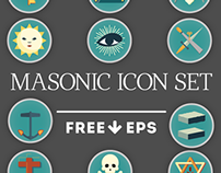 FLAT FREEMASON ICON SET
