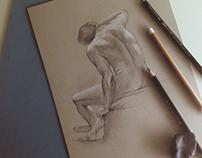 Graphite male nude
