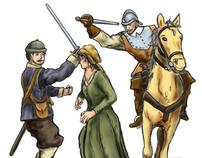 Carrickmines castle massacre - artist visualisations