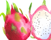Watercolor fruit and vegetables