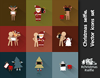 Christmas selfie. Vector icons set