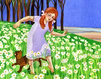 Illustration: Girl in a Daisy Field