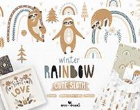 Winter Rainbow & Cute Sloth