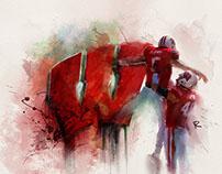 Badger Football Watercolor