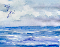 See the sea (watercolor Illustration)