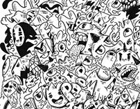 Monster invasion doodle design