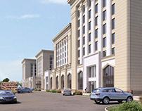 Business center behind KBTU in Almaty city. Variant 1.