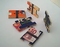 wood wallet multicolor