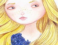 blonde girl blue flowers