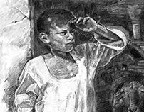 Charcoal Drawing of a Nubian Child