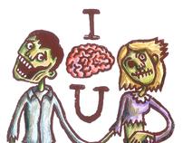 Zombie Valentine's Linocut