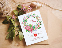 Hằng + Kiên watercolor wedding invitation