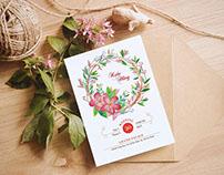Hằng + Kiên watercolor wedding invitation