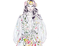 Marchesa Spring 2015 Illustration