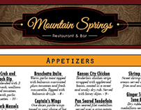 Mountain Springs Winter Menu