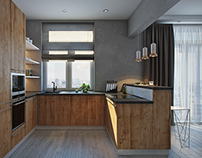 Kitchen. Modern style. Nature materials