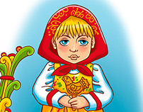 Decal with cute Russian girl in traditional dress.
