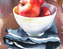 Watercolor on canvas (Still Life)