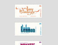 Rock Leyends Postal Stamps