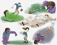 Skeleton sports illustration
