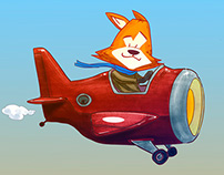 RED FOX IN THE AIR