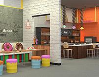 Dunkin Donut Interior Concept-Industrial Pop Art Style