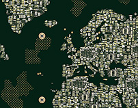 World map printed circuit board illustration