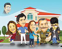 Caricature Family Portrait of famous Pakistani TV actor