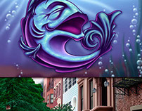 Fish Spot & Brownstone Background